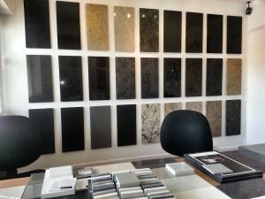 Showroom, granite display wall