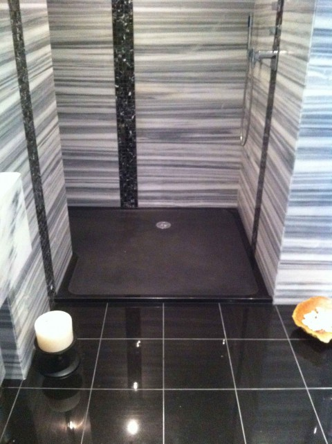Black granite shower tray