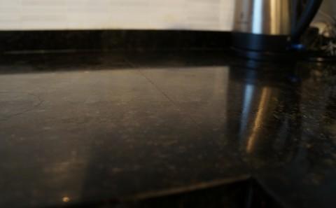 Granite worktop seam close-up