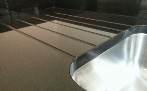 Jet Black granite worktop drainer grooves stratford upon avon