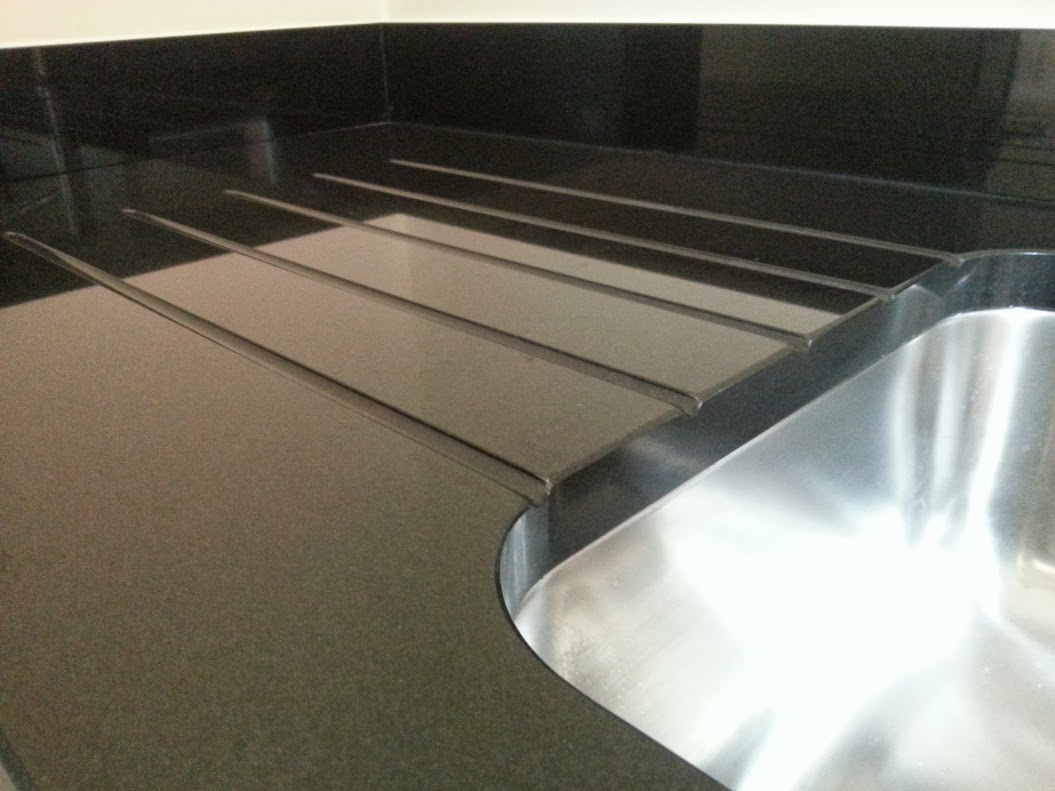 Jet Black granite worktop drainer grooves stratford upon avon