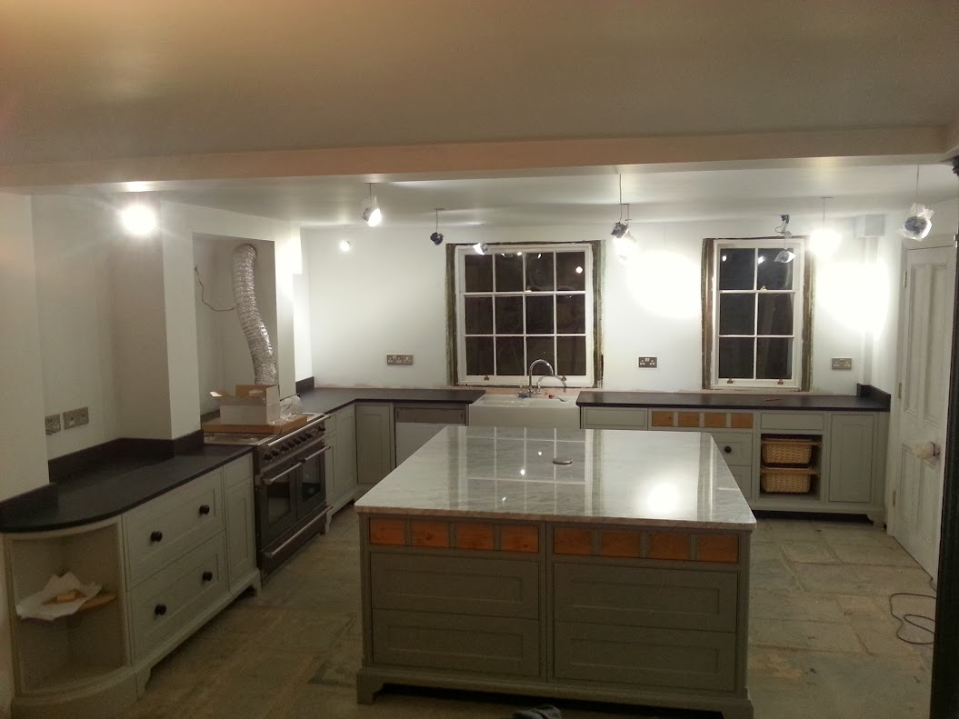italian black slate worktop and carrara island leamington spa