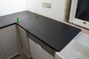 italian black slate worktop drainer grooves