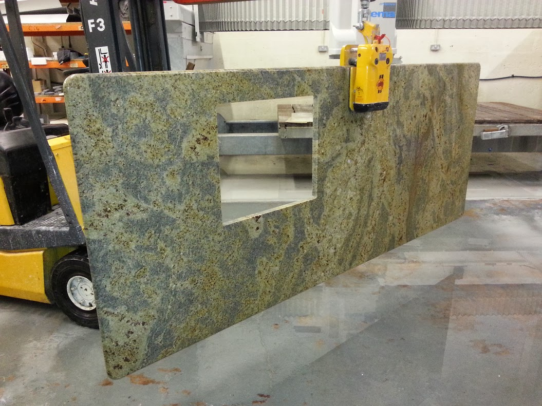 kashmir gold granite worktop island processing 2