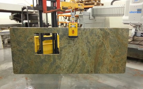 kashmir gold granite worktop island processing