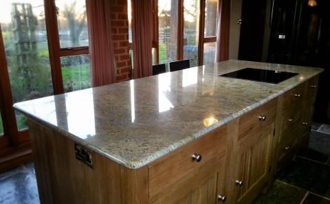 kashmir gold granite worktop island warwickshire 1
