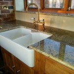 kashmir gold granite kitchen worktop - belfast sink