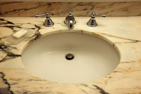 traditional marble vanity with under-mounted sink