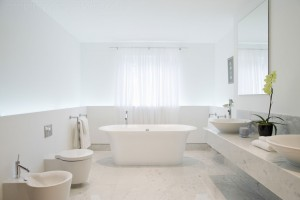 Limestone bathroom overview