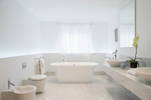 Limestone bathroom overview