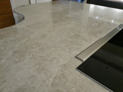 close-up of worktop joint in marble