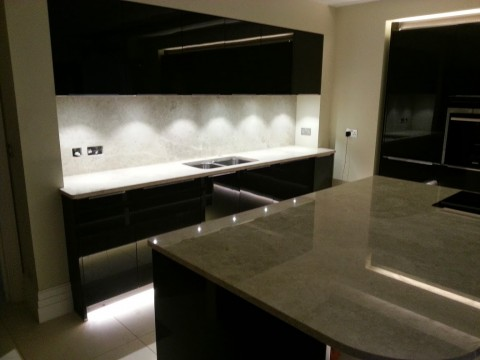 Kitchen worktop overview, marble island