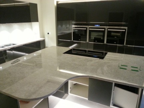 Overview of the marble work surfaces
