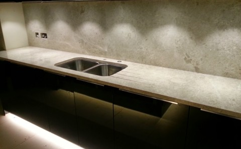 marble splash-backs and kitchen worktop