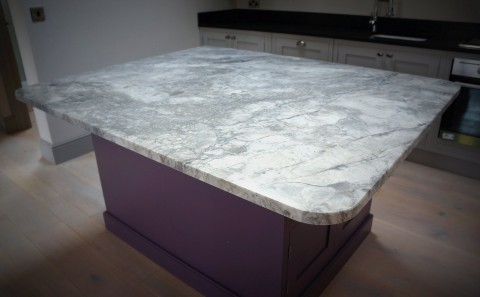 Eclipsia Bianca Quartzite Kitchen Island