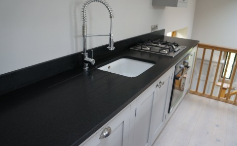 Indian Jet Black Granite sink run