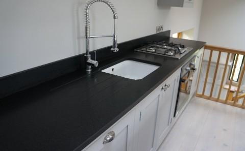 Indian Jet Black Granite sink run