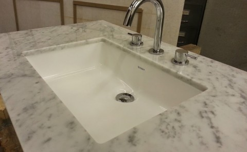 carrara marble vanity undermount sink