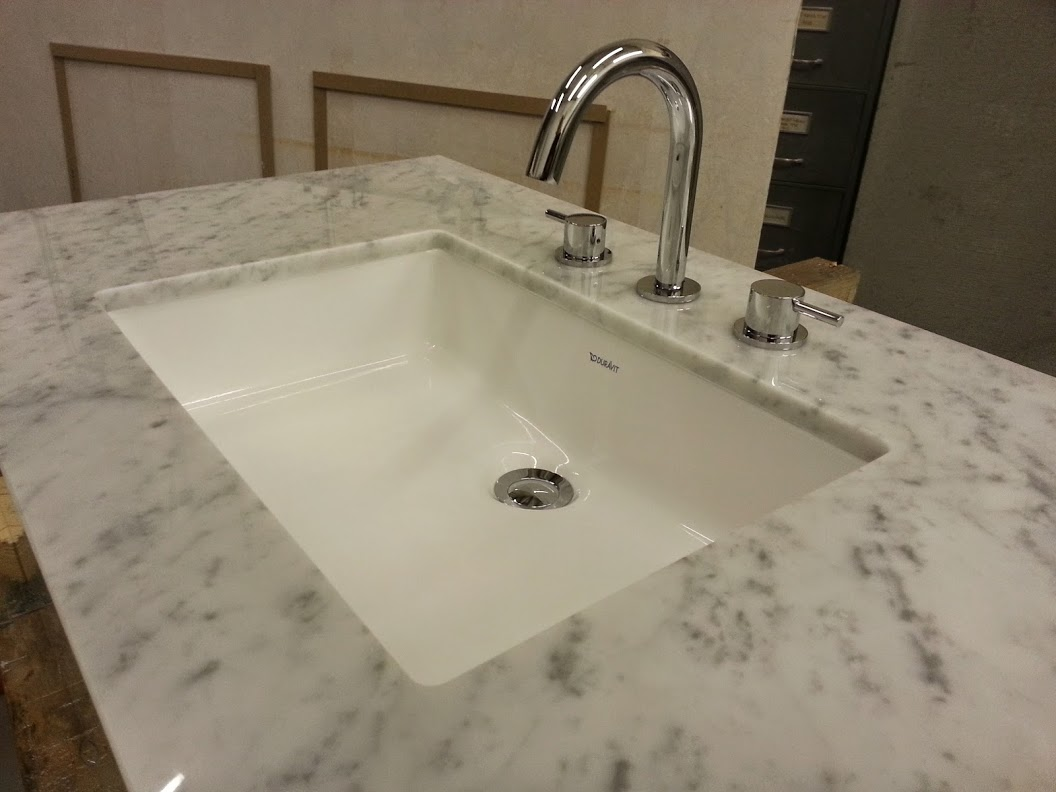 carrara marble vanity undermount sink